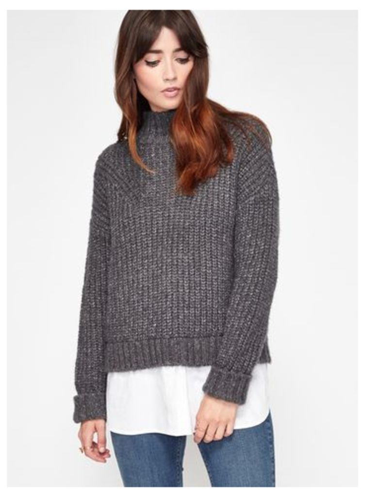 Womens Charcoal Chunky 2 In 1 Knitted Jumper, Mid Grey