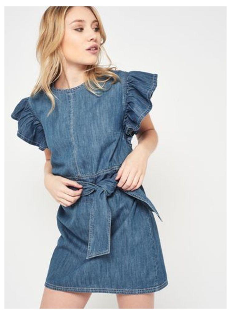 Womens PETITE Denim Tie Front Dress, Blue