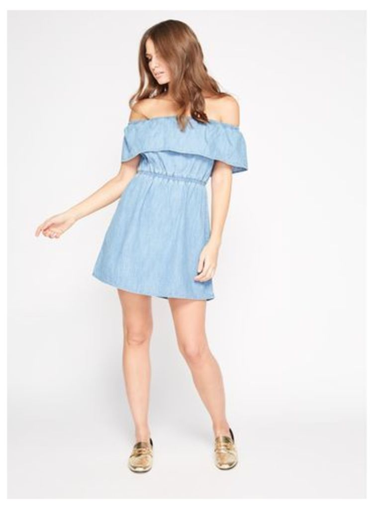 Womens PETITE Ruffle Denim Bardot Dress, Blue