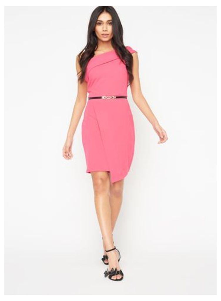 Womens One Shoulder Asymmetric Wrap Dress With Belt, Pink