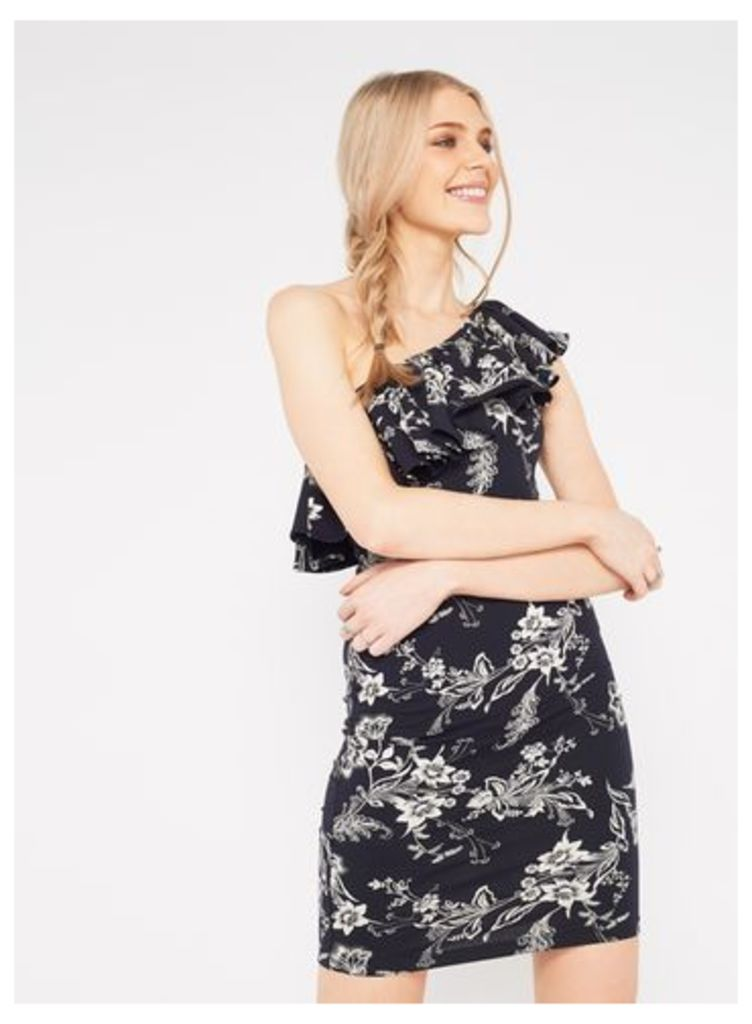 Womens One Shoulder Printed Frill Dress, Assorted