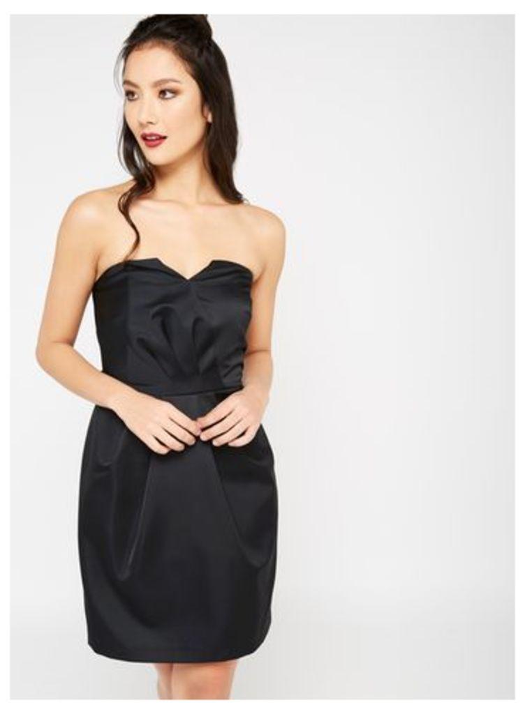 Womens Satin Bandeau Dress, Black