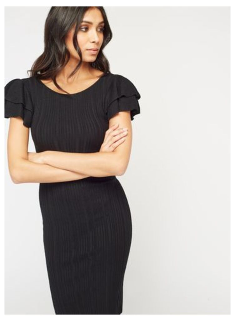 Womens Black Lattice Back Ruffle Sleeve Knitted Dress, Black