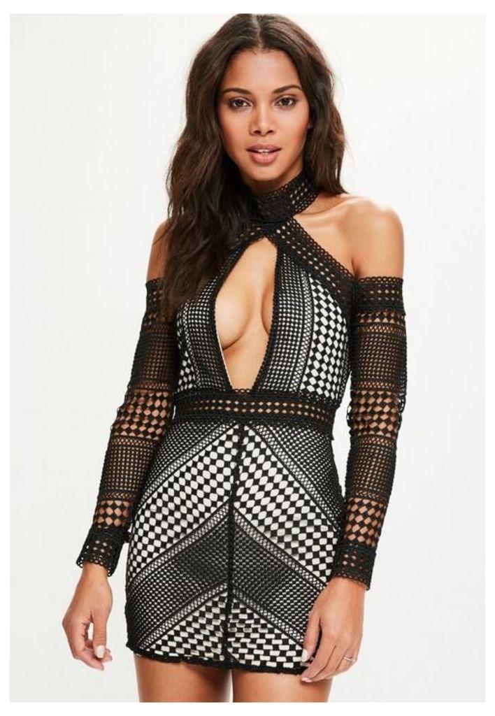 Black Lace Cold Shoulder Bodycon Dress, Black