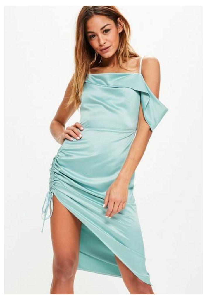 Blue Satin One Shoulder Ruched Side Dress, Blue