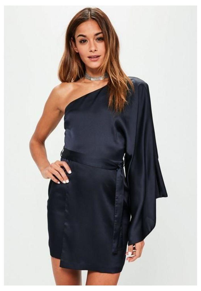 Blue Silky One Shoulder Sleeve Shift Dress, Blue