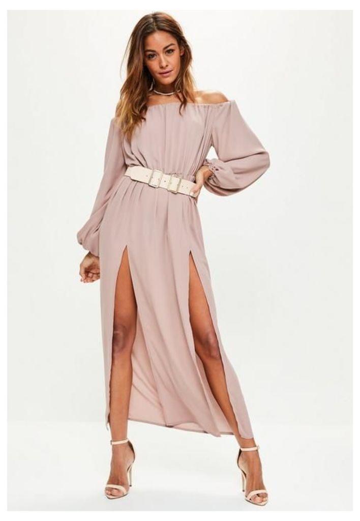 Pink Bardot Balloon Sleeve Split Maxi Dress, Grey