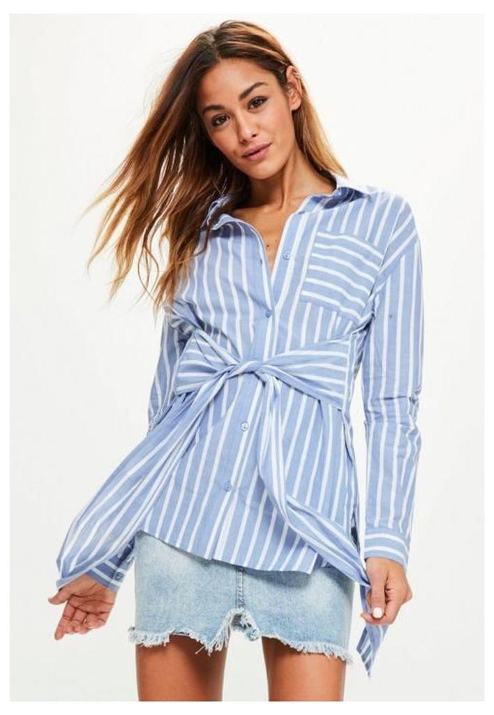 Blue Striped Tie Front Pocket Detail Shirt, Blue