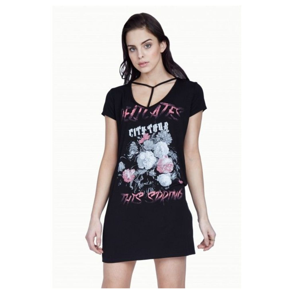 ROSE SLOGAN T-BAR SHIFT DRESS
