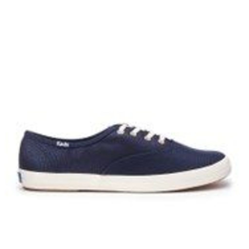 Keds Women's Champion Metallic Canvas Plimsoll Trainers - Peacoat Navy - UK 3