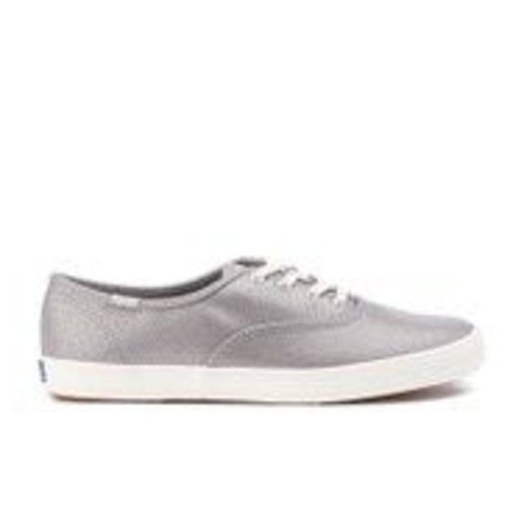 Keds Women's Champion Metallic Canvas Plimsoll Trainers - Silver - UK 6