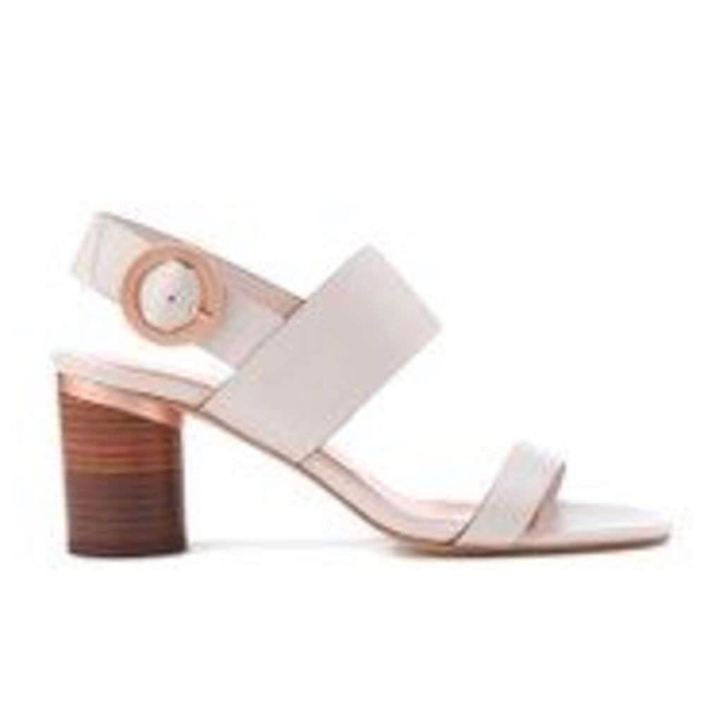 Ted Baker Women's Azmara Leather Block Heeled Sandals - Light Grey - UK 4