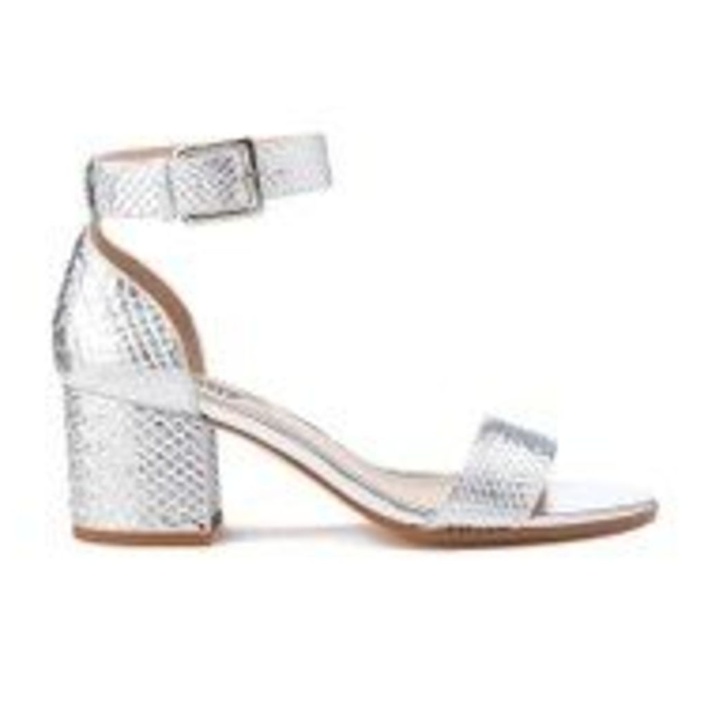Dune Women's Jaygo Barely There Blocked Heeled Sandals - Silver Reptile - UK 5