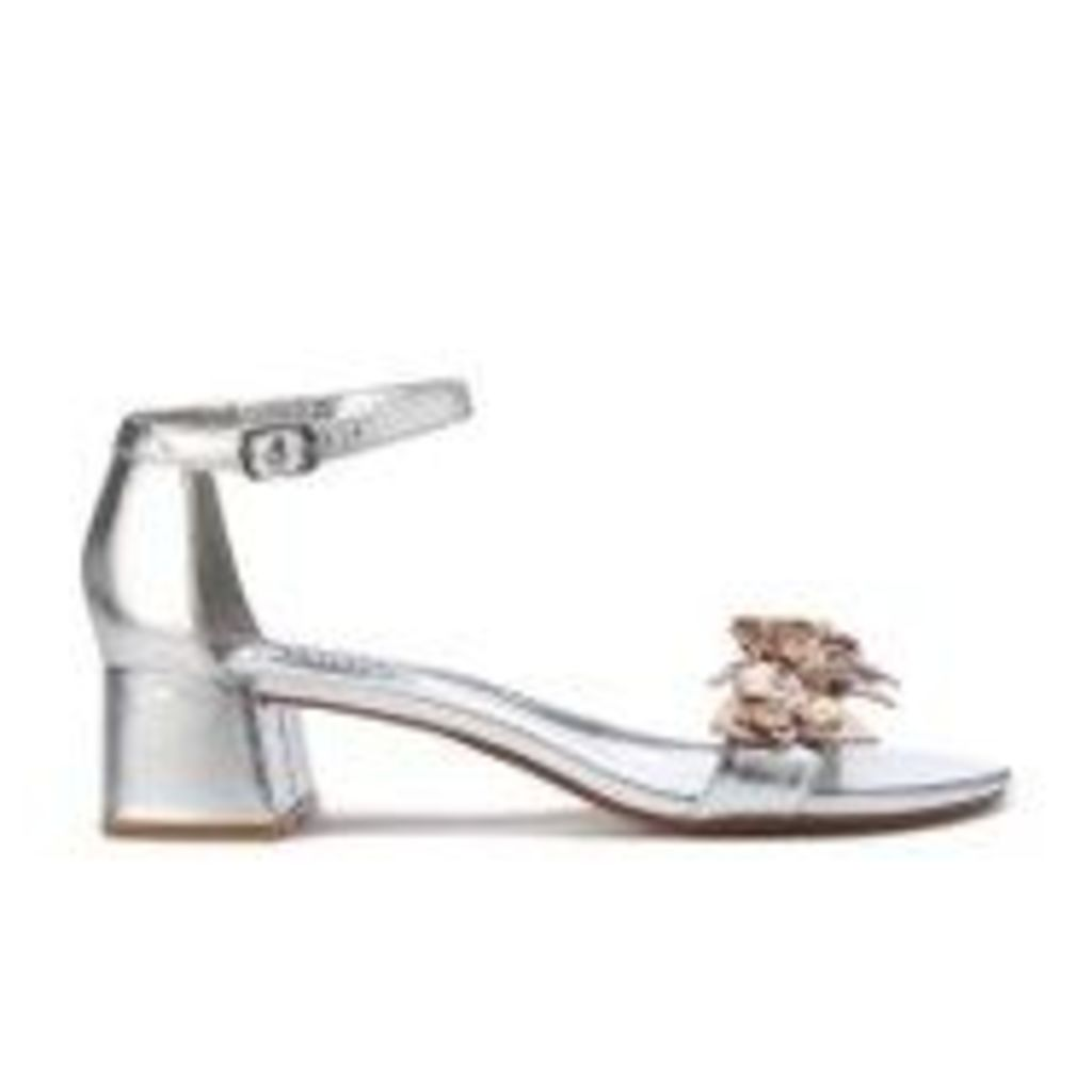 Dune Women's Mae Leather Blocked Heeled Sandals - Silver - UK 6