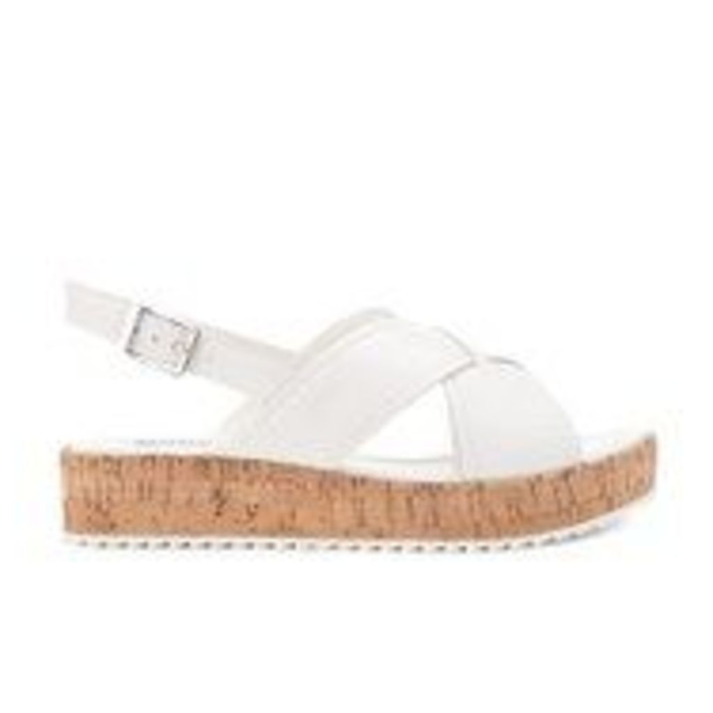Dune Women's Kriss Leather Flatform Sandals - White - UK 4