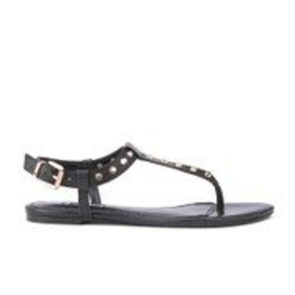 Dune Women's Laciee Leather Toe Post Sandals - Black - UK 4