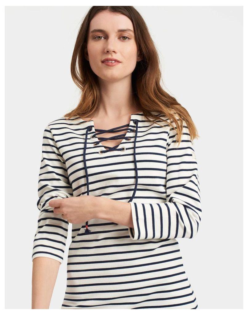 Cream Stripe Riviera Tie Front Dress  Size 8 | Joules UK