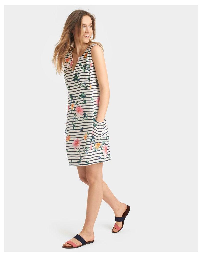 Cream Stripe Bird Clematis Elayna Sleeveless Shift Dress  Size 18 | Joules UK