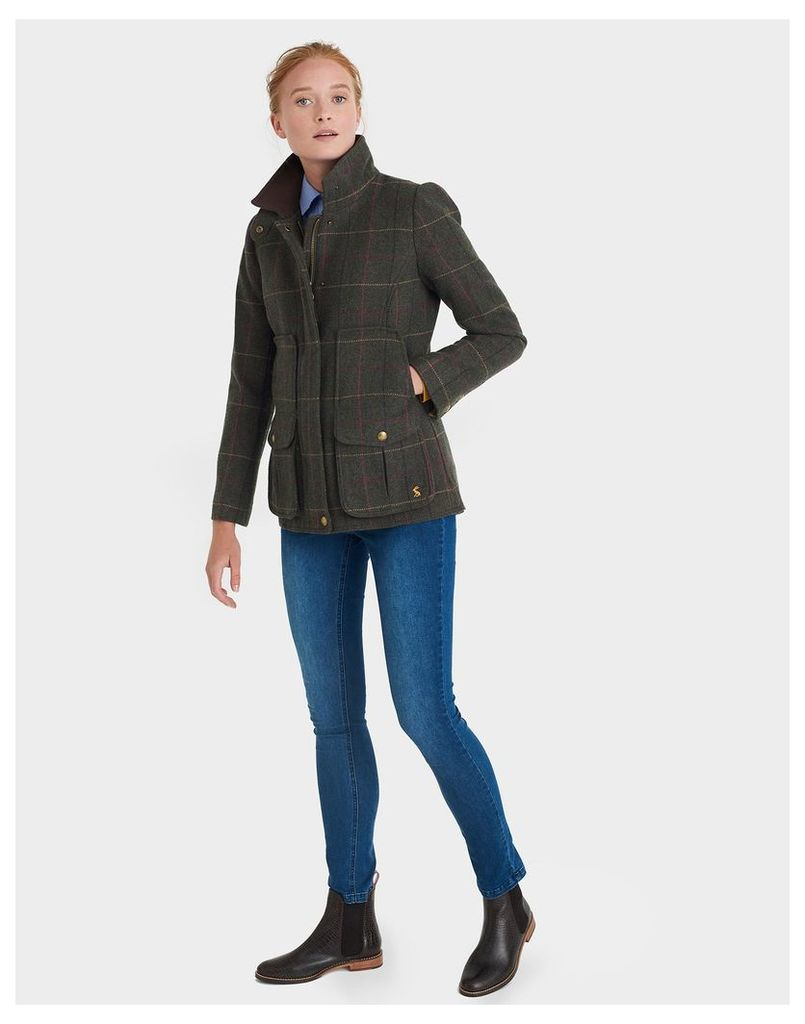 Heather Check Tweed Fieldcoat  Size 12 | Joules UK