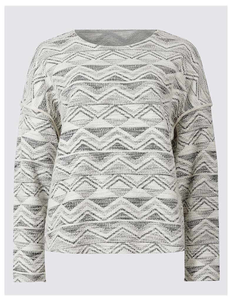 Indigo Collection Cotton Rich Textured Long Sleeve Jersey Top
