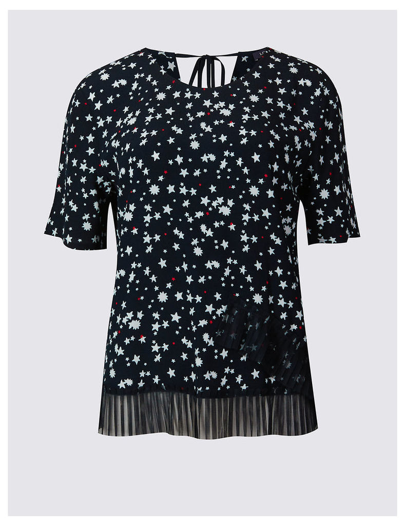 Limited Edition Star Print Round Neck Short Sleeve Blouse