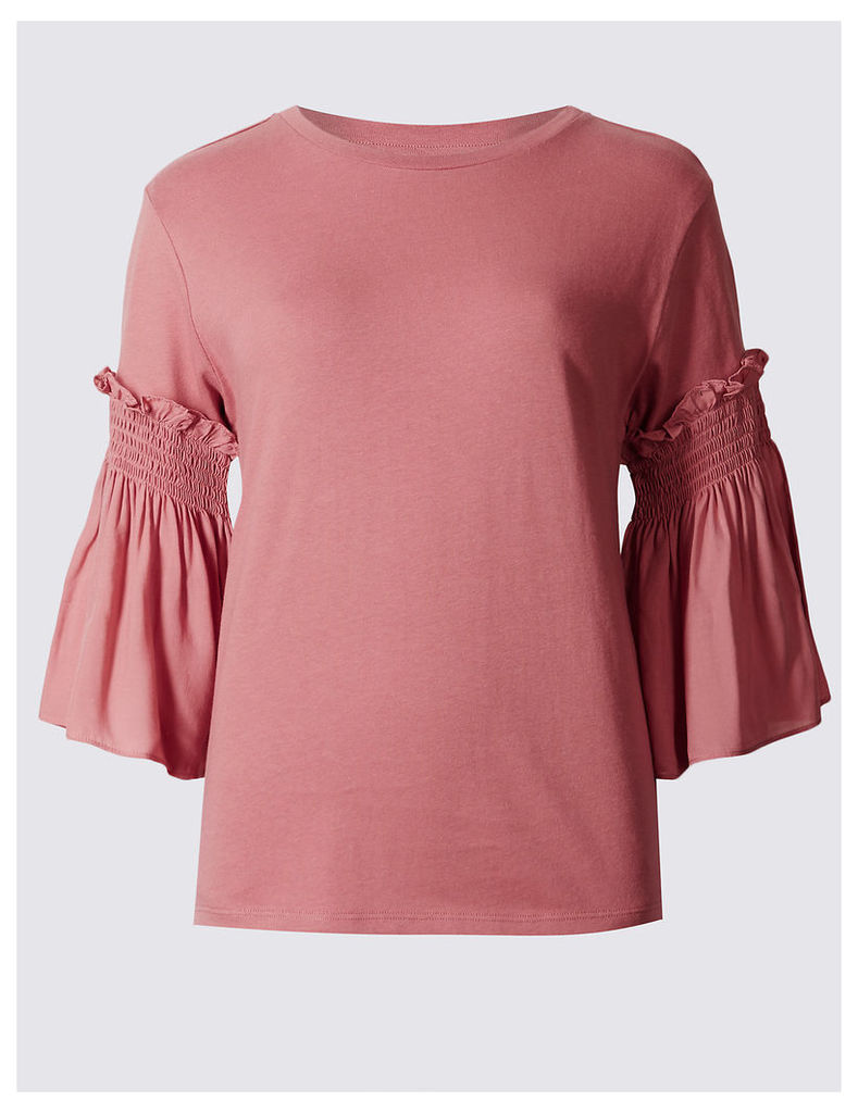 Indigo Collection Pure Cotton Smock 3/4 Sleeve Jersey Top