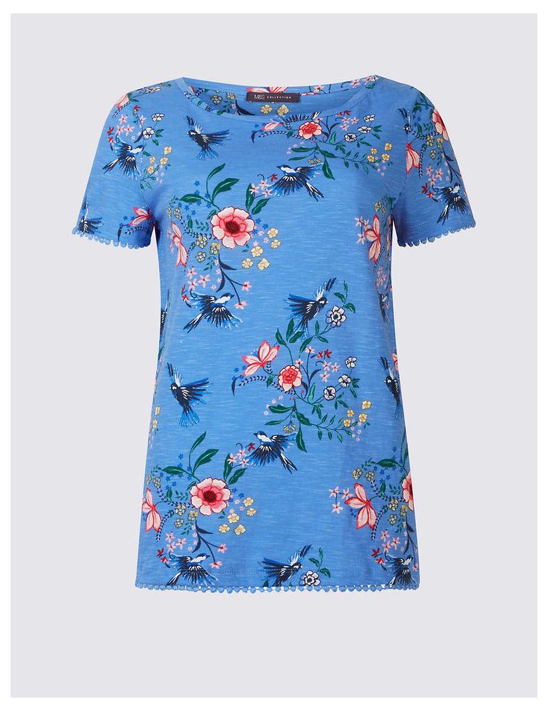 M&S Collection Pure Cotton Floral Print T-Shirt