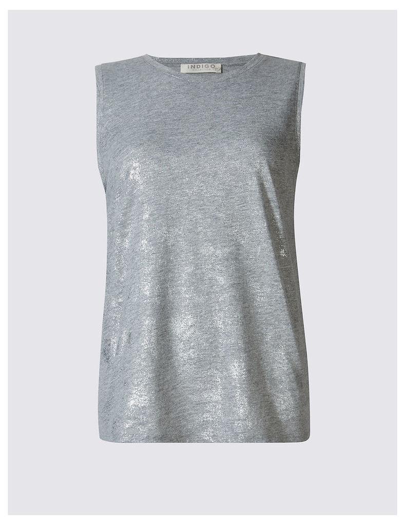 Indigo Collection Cotton Blend Foil Sleeveless Jersey Top