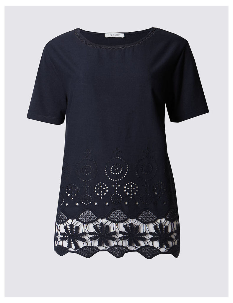 Classic Pure Cotton Lace Short Sleeve Jersey Top