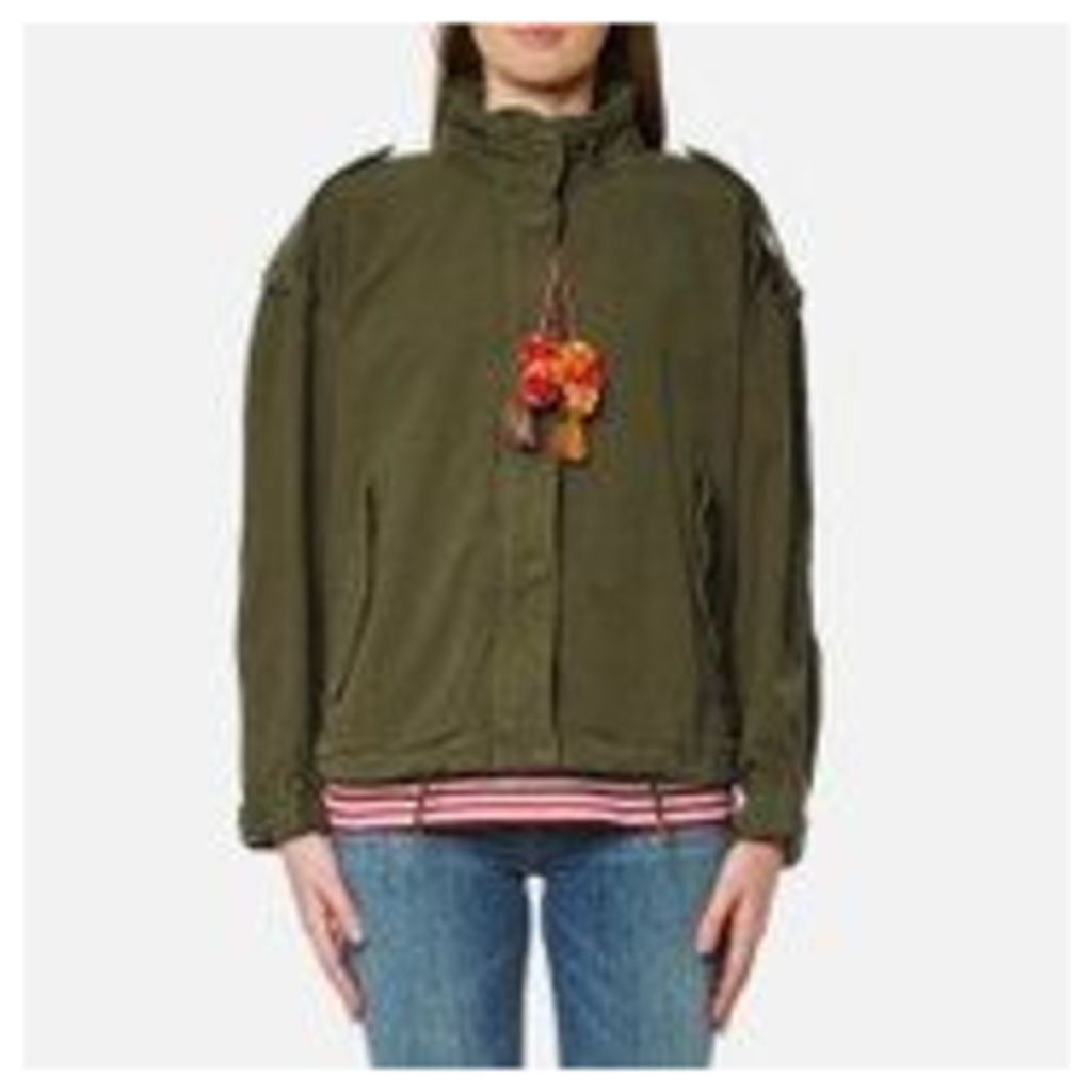 Maison Scotch Women's Relaxed Fit Army Jacket with Hidden Hood - Army - P/UK 8