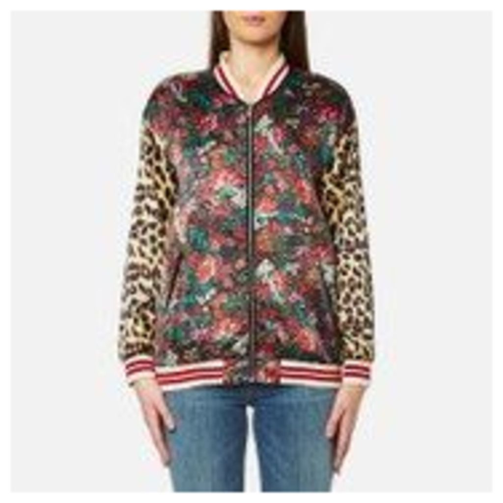 Maison Scotch Women's Silky Feel Print Mixed Bomber Jacket with Lurex Ribs - Multi - 3/UK 12
