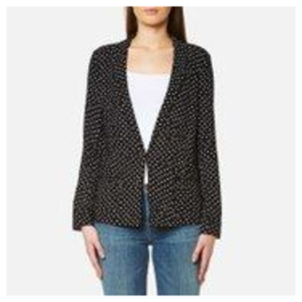 Maison Scotch Women's Basic Printed Drapey Blazer with Contrast Piping - Black - 3/UK 12