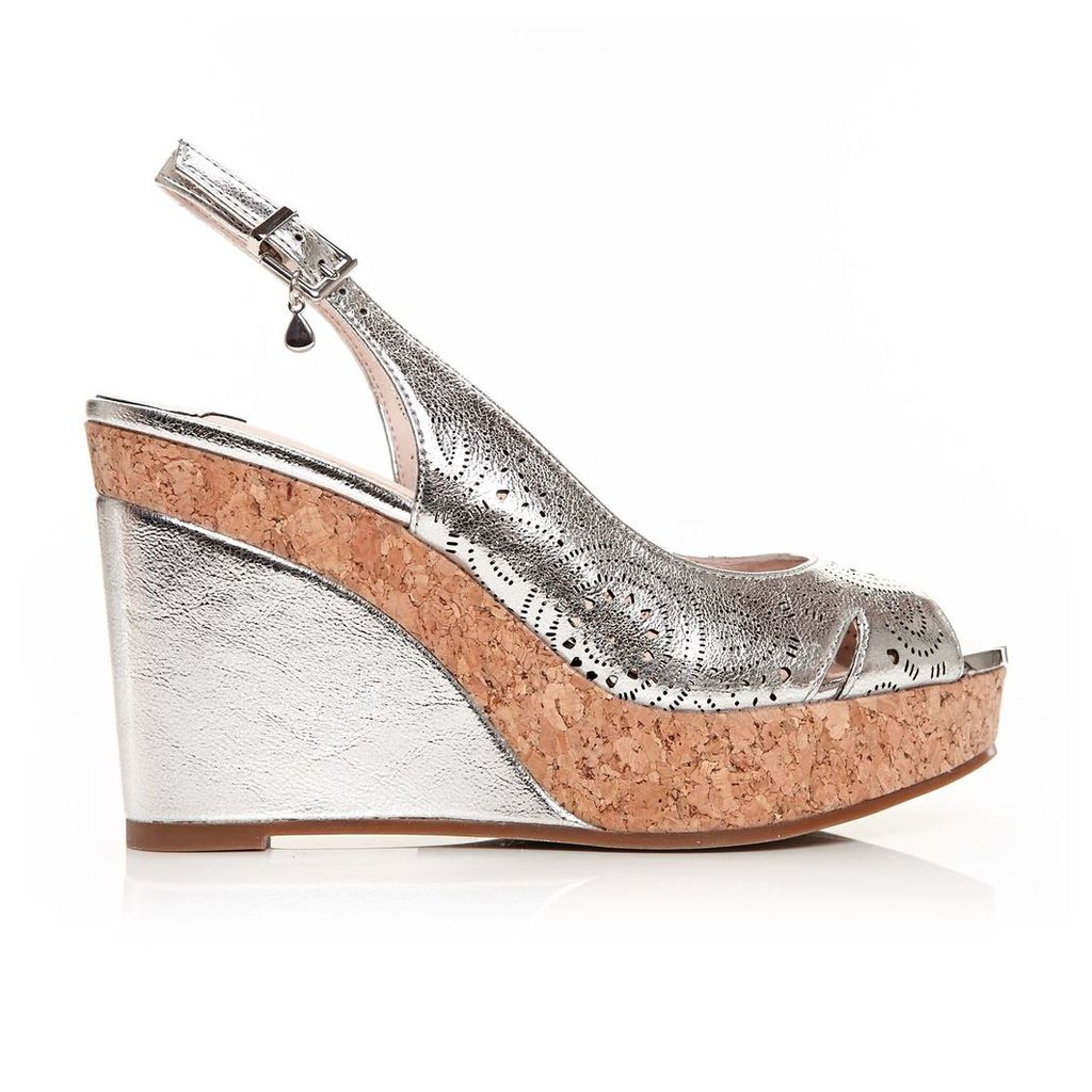 Moda in Pelle Rivas Silver Very High Smart Sandals