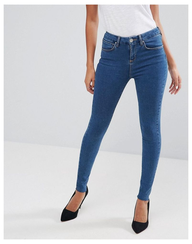 ASOS 'SCULPT ME' High Rise Premium Jeans in Yew Chalky Blue with Raw Hem - Blue