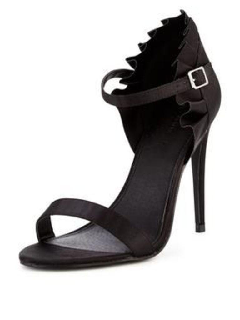 V by Very Frilly Ruffle Heeled Sandal- Black, Black, Size 7, Women