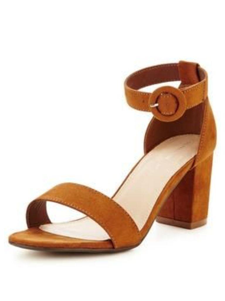 So Fabulous Emilia Extra Wide Fit Block Heeled Sandal- Tan, Tan, Size 8, Women