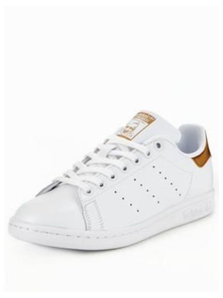 adidas Originals Stan Smith, White/Gold, Size 7, Women