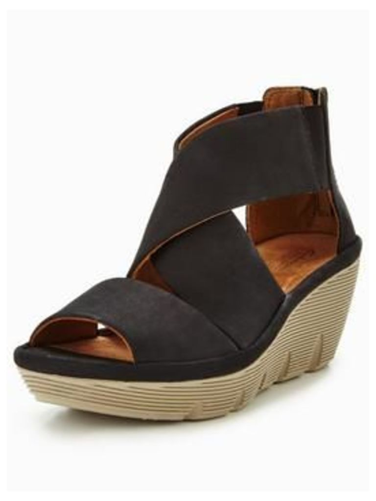 Clarks Clarks Clarene Glamor Stretch Strap Wedge Sandal, Black, Size 8, Women