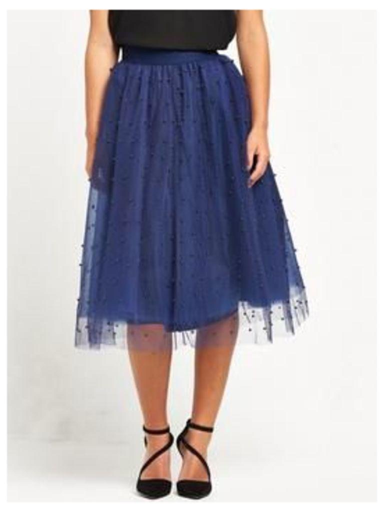 Little Mistress PETITE Midi Skirt - Navy, Navy, Size 16, Women