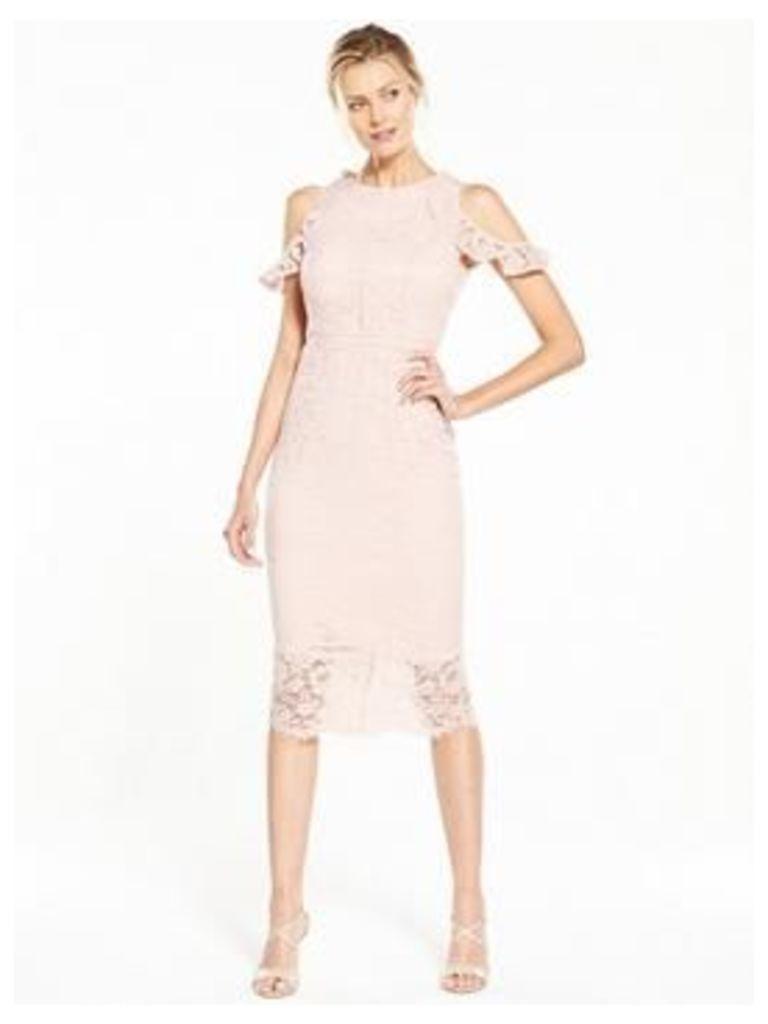 V by Very Cold Shoulder Lace Pencil Dress, Blush, Size 22, Women
