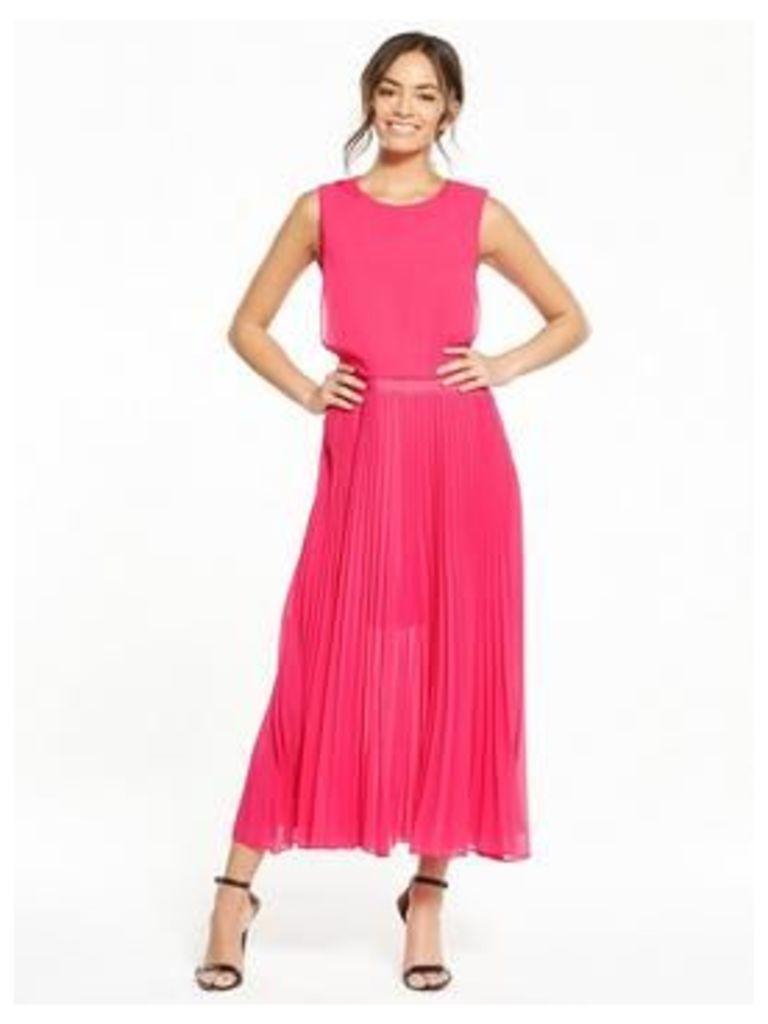 Lost Ink Lost Ink Rebecca Double Layer Pleat Dress, Fuchsia, Size 14, Women