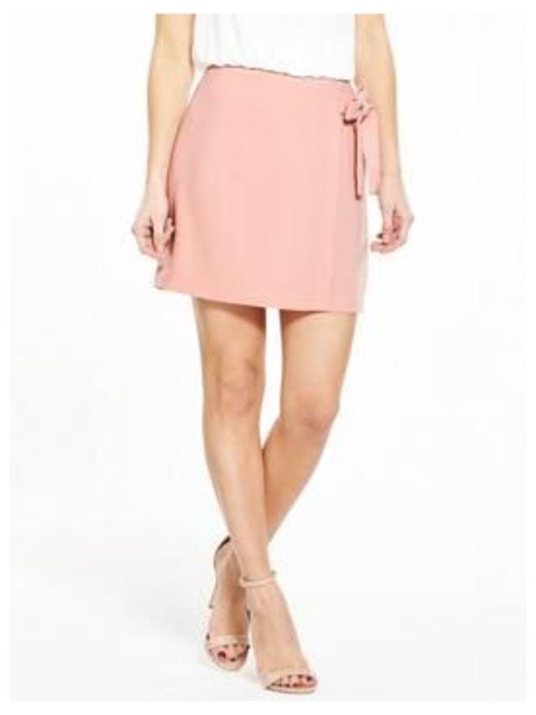 V by Very Petite PETITE Tie Detail Skirt - Blush , Blush, Size 14, Women