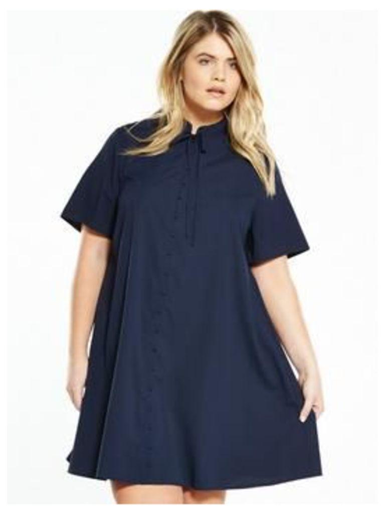 Fashion Union Curve CURVE Bow Tie Shirt Dress - Navy, Navy, Size 24, Women
