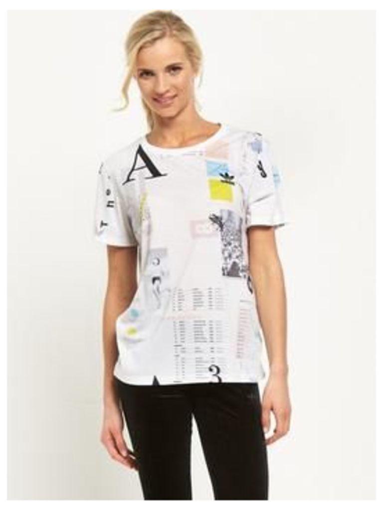 adidas Originals Info Poster Boyfriend Tee, Multi, Size 14, Women