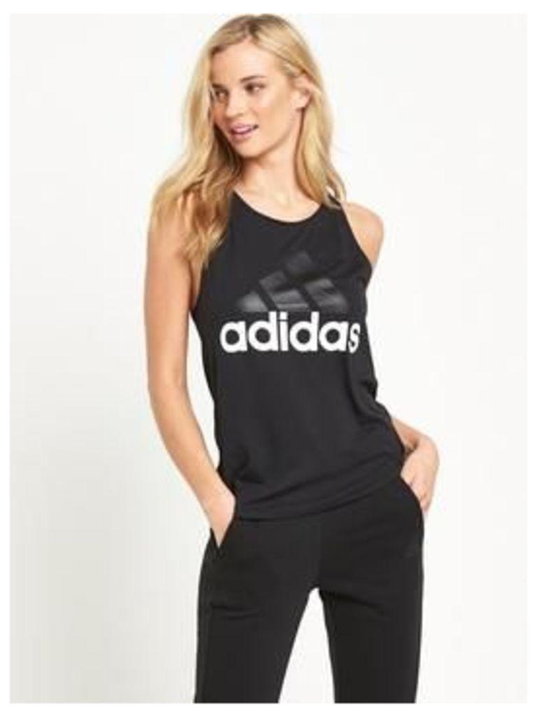 adidas Essentials Linear Drop Hem Tank, Black, Size M, Women