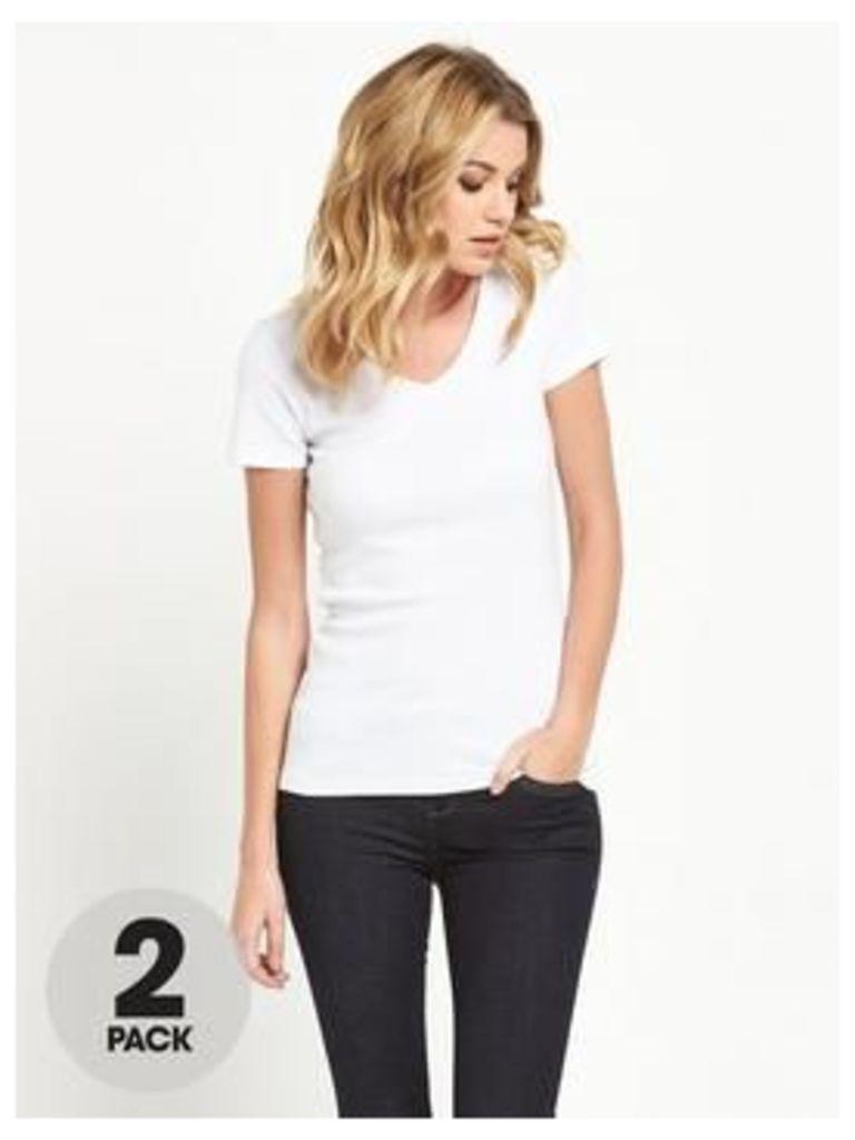 V by Very 2 Pack V-Neck Rib T-Shirts, Navy/Grey Marl, Size 8, Women