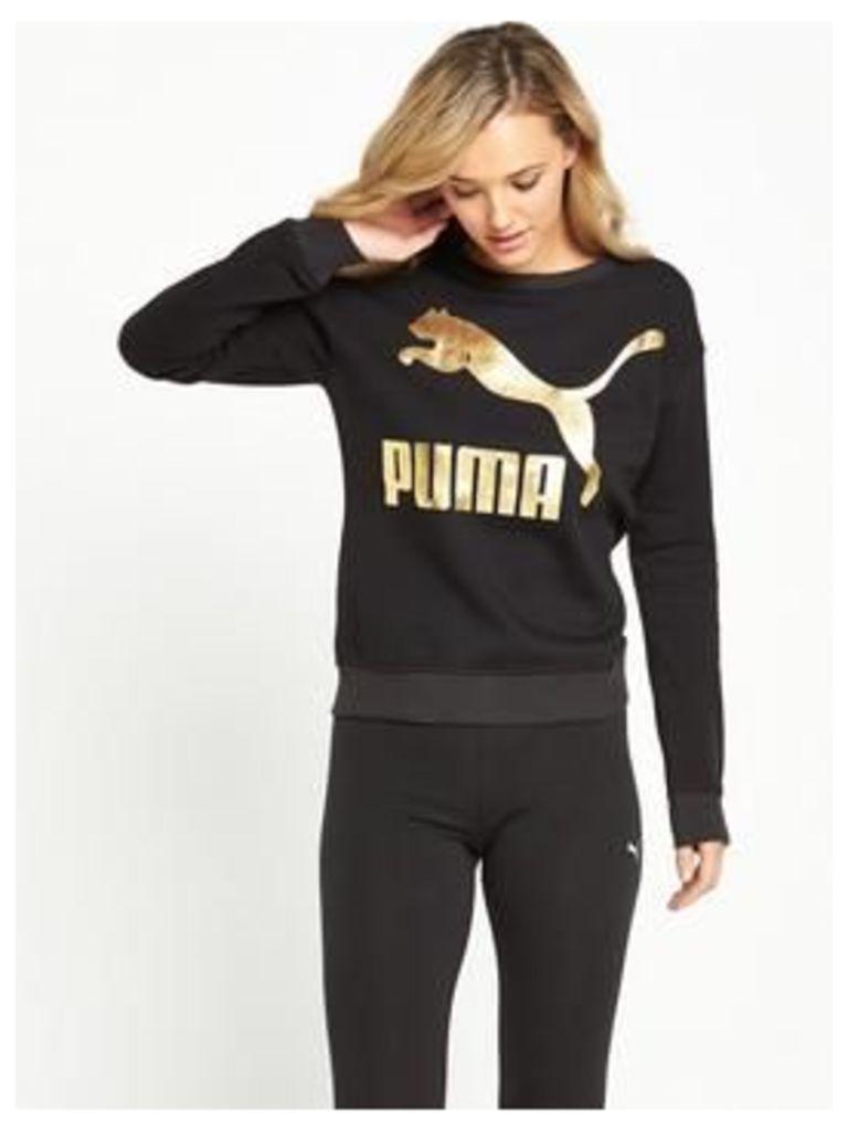 Puma Archive Logo Crew, Black, Size L/14, Women