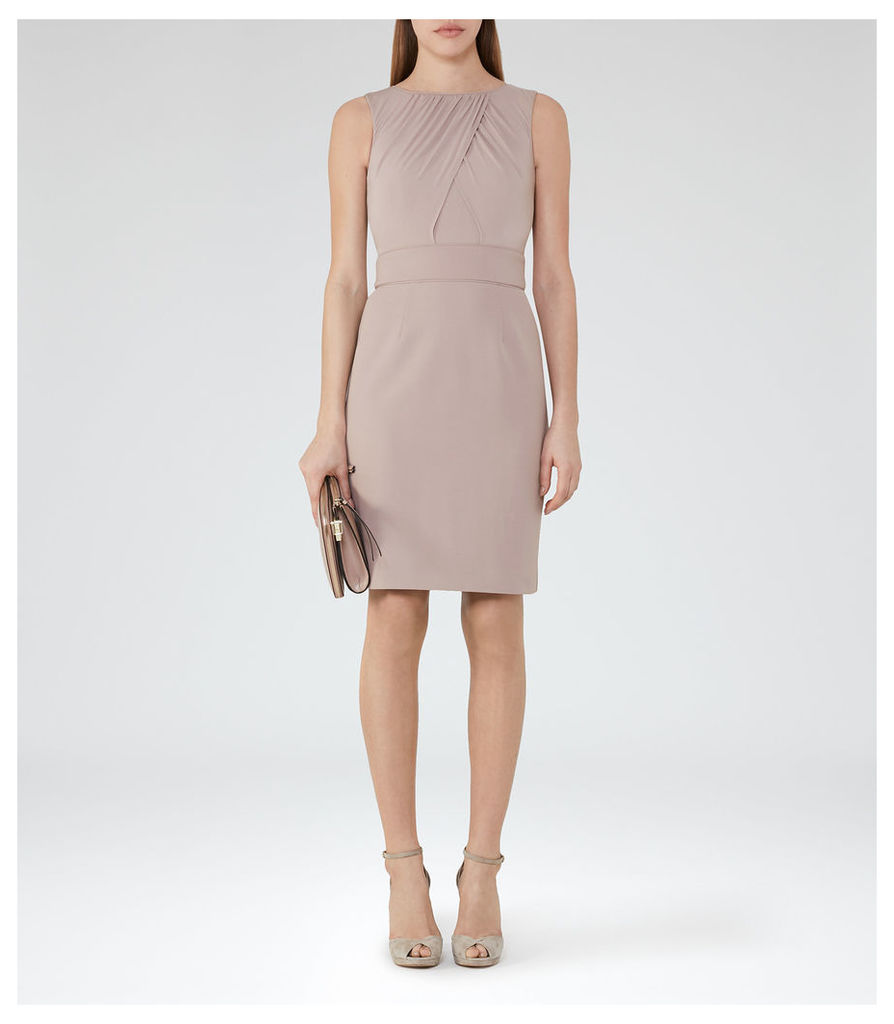 REISS Benoit - Womens Cross-front Dress in Grey