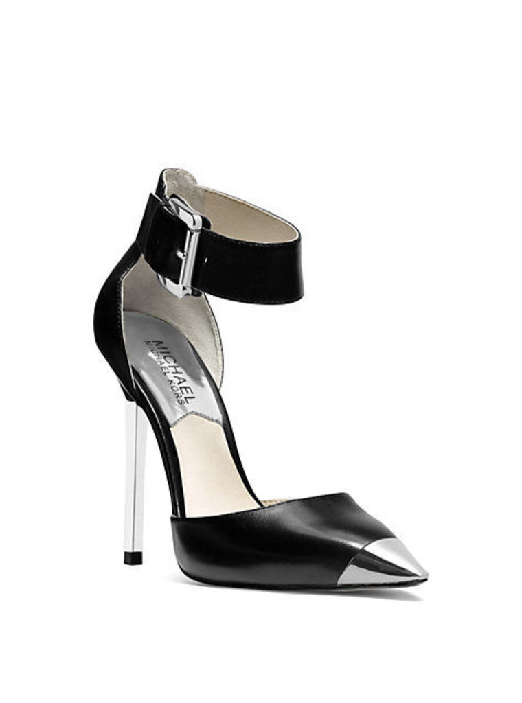 Zady Ankle-Strap Leather Pump