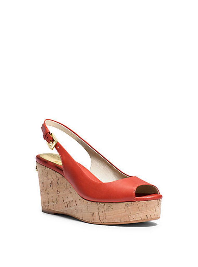 Natalia Leather Peep-Toe Wedge